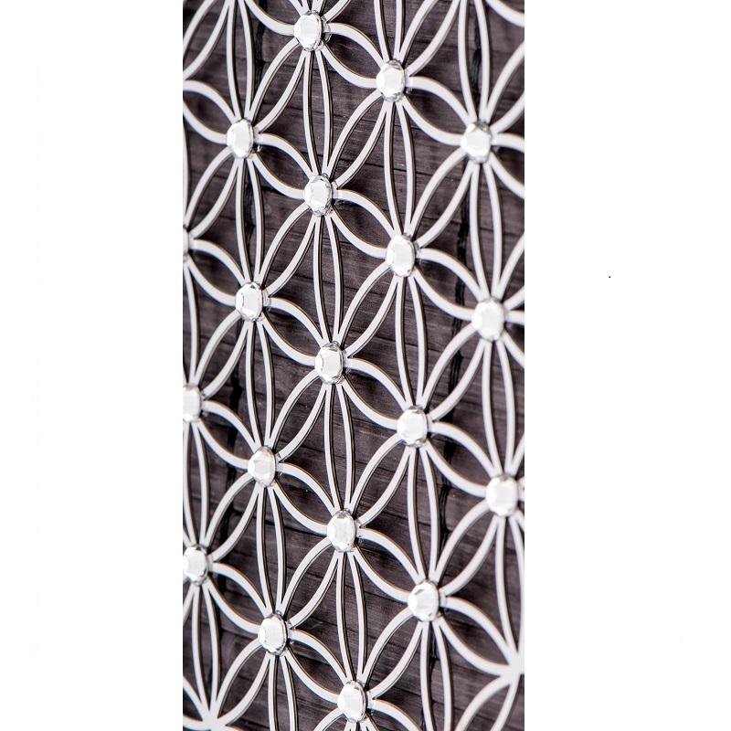 Levensbloem 18 cm wanddecoratie RVS met kristallen