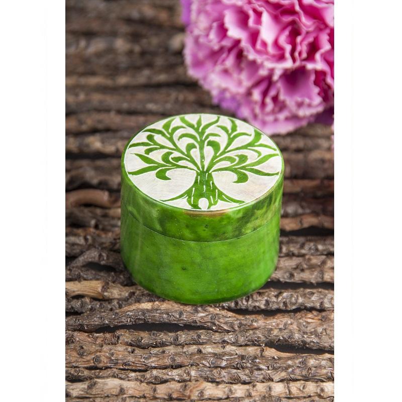 Levensboom doosje speksteen groen