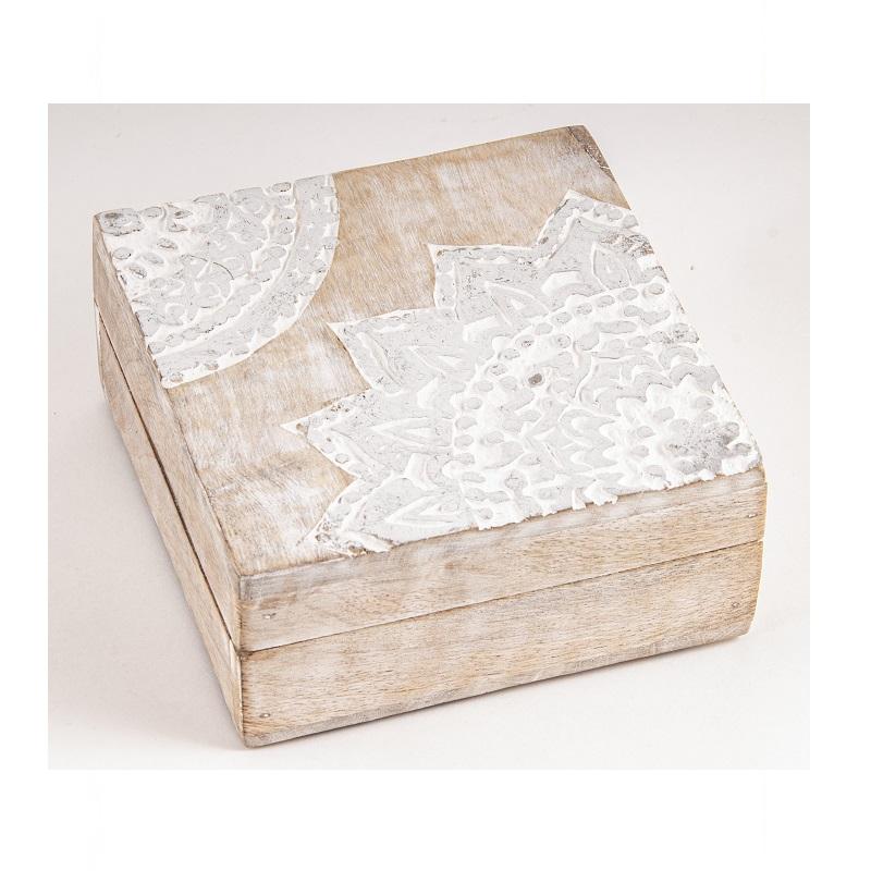 Mandala houten box zilverkleurig klein